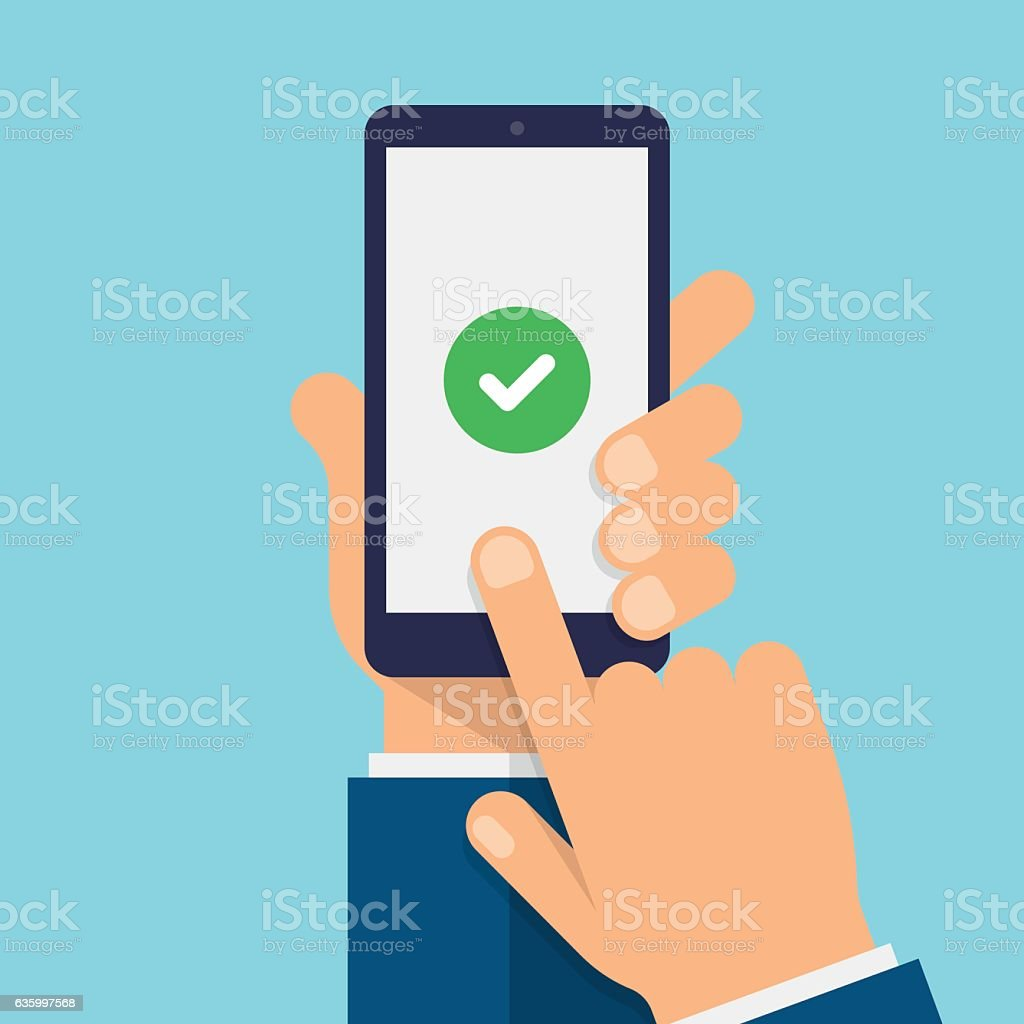 Check mark on smartphone screen - Modern Flat design illustration vector art illustration