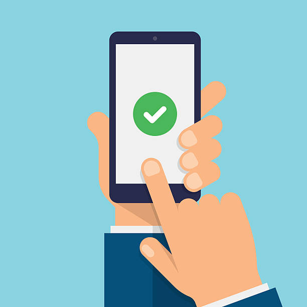 bildbanksillustrationer, clip art samt tecknat material och ikoner med check mark on smartphone screen - modern flat design illustration - hålla