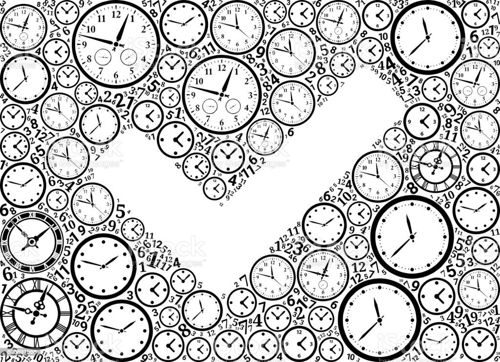 Check Mark On Time And Clock Vector Icon Pattern Stock Vektor Art ...