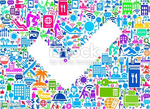 Check Mark Resort Hotel and Hospitality Industry Icons Background. The main image is composed of hotel and resort vector icons. The icons vary in size and color and include such hotel and hospitality icons as luggage, valet, swimming pool, resort, front desk, security key, and other classic travel iconography. The background of this vector illustration is white. This composition is perfect for all your hotel vacation and hospitality needs.