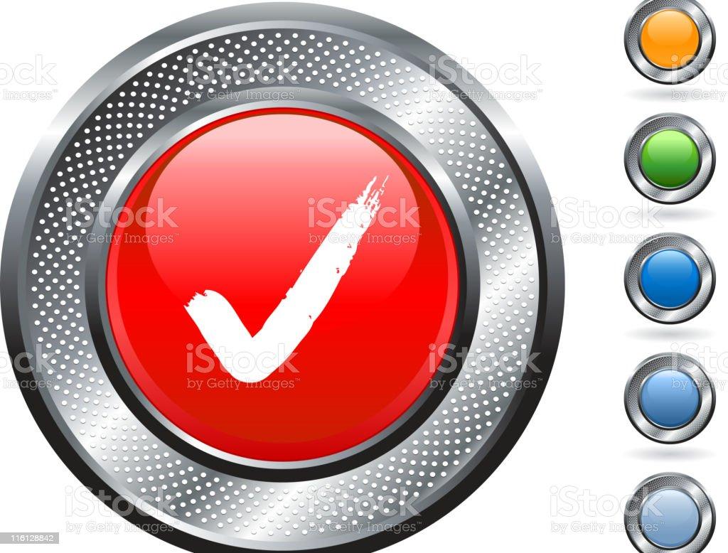 check mark royalty free vector art on metallic button royalty-free check mark royalty free vector art on metallic button stock vector art & more images of blank