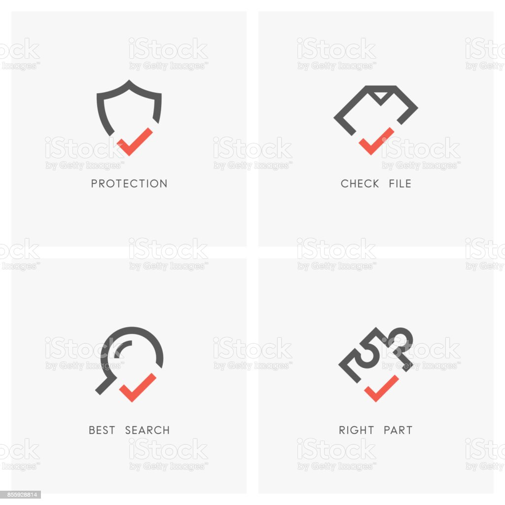 Check mark set 03 vector art illustration