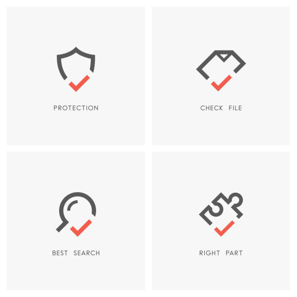 Check mark set 03 Check mark set. Shield, document or file, magnifying glass and puzzle piece with tick or checkmark symbol - protection and defense, agreement, search and jigsaw part icons. defend stock illustrations