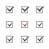 Check mark set over white.Red tic.Choice element .Agreement symbol.Answer icon.
