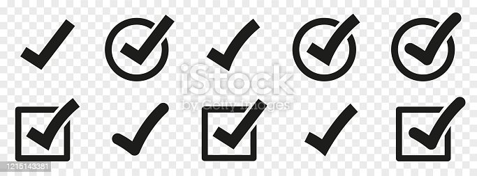 istock Check mark set. Vector check mark icons collection. Flat style - stock vector. 1215143381