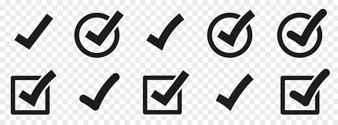 Check mark set. Vector check mark icons collection. Flat style - stock vector.