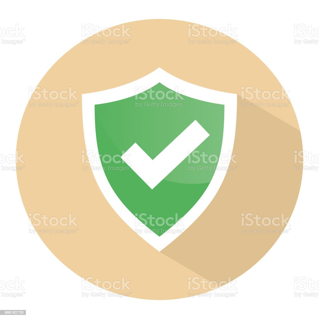 Check mark shield vector icon vector art illustration