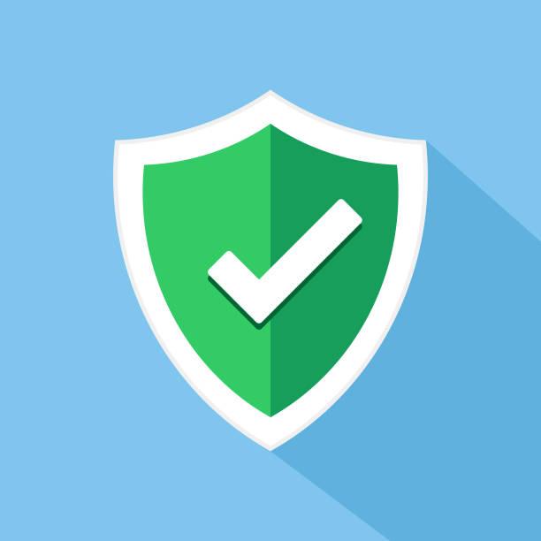 Check mark shield vector icon Check mark shield vector icon shield stock illustrations