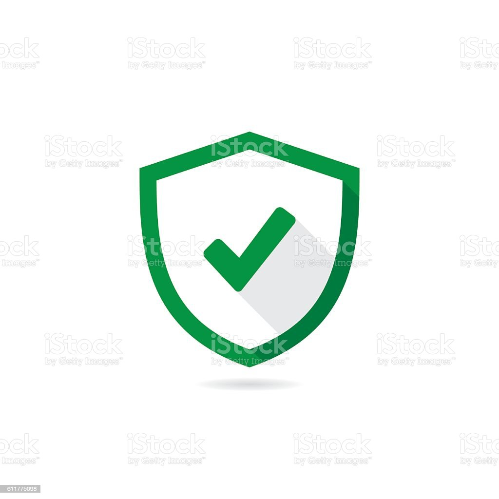 Check Mark Shield Vector Icon With Long Shadow - Illustration vectorielle