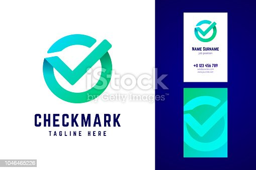 Check mark sign and business card template in gradient style. Origami style with overlapping effect. Vector illustration.