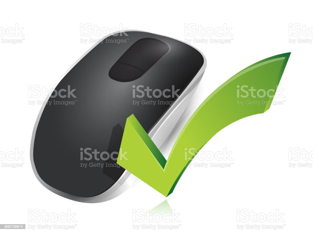 8500d28d816 check mark sign and Wireless computer mouse isolated on white background  royalty-free check mark