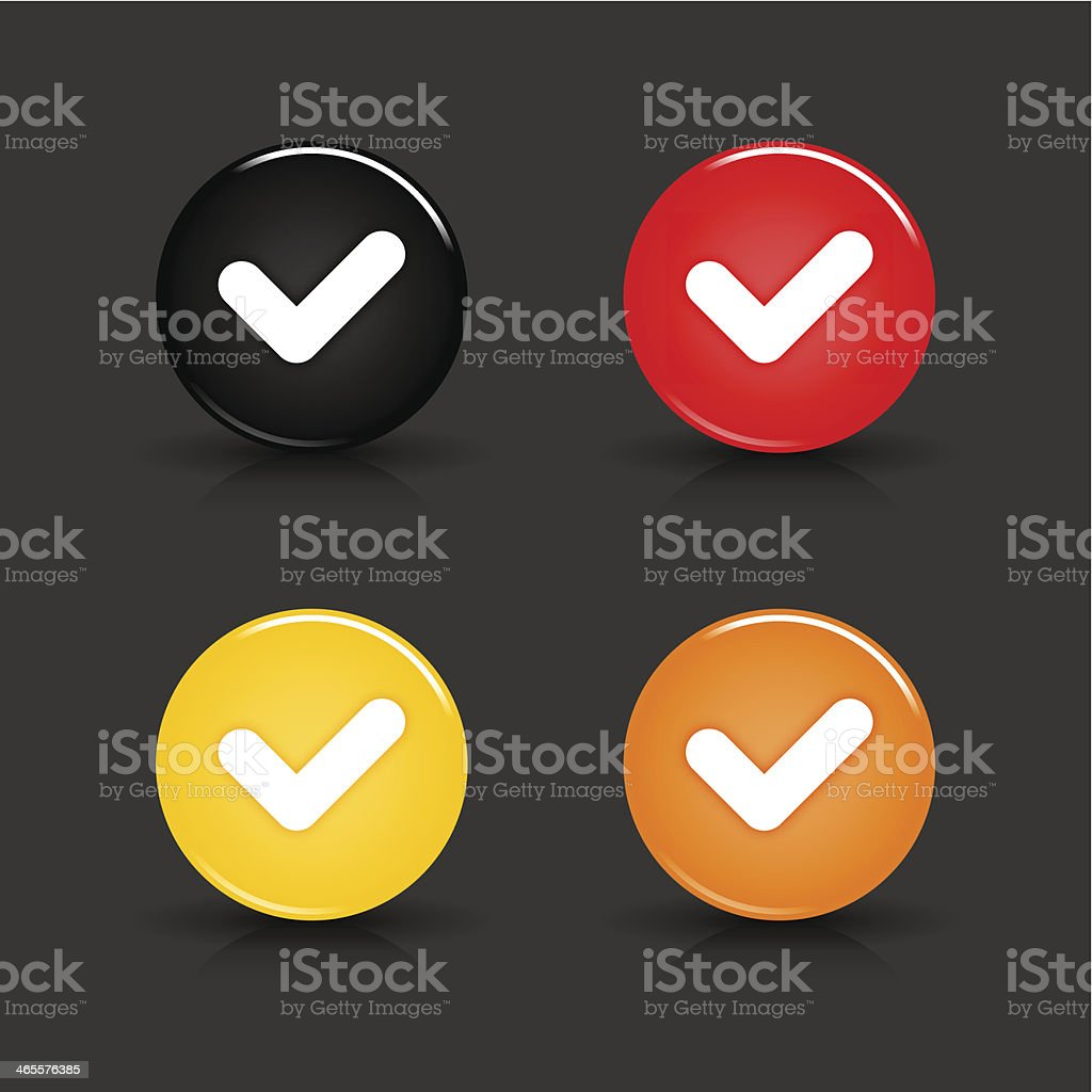 Check mark sign circle icon black red yellow orange button royalty-free stock vector art