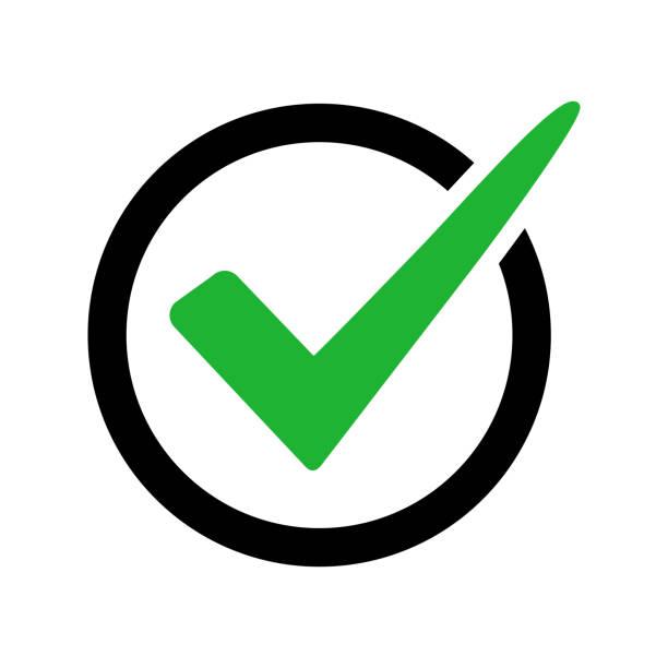 チェック マーク記号は、白い背景で隔離。黒と緑の色。ベクトル図 - 決定点のイラスト素材/クリップアート素材/マンガ素材/アイコン素材
