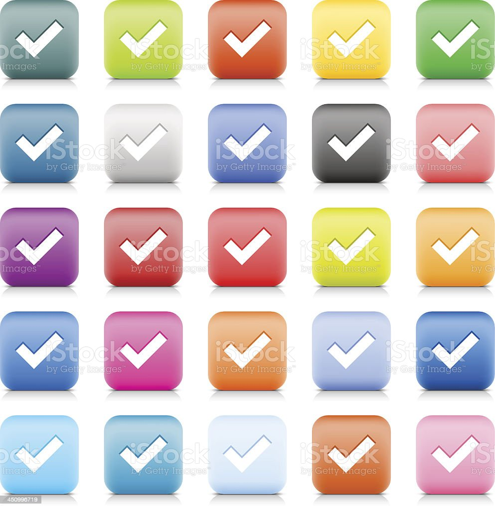 Check mark sign web button color internet icon white pictogram royalty-free stock vector art