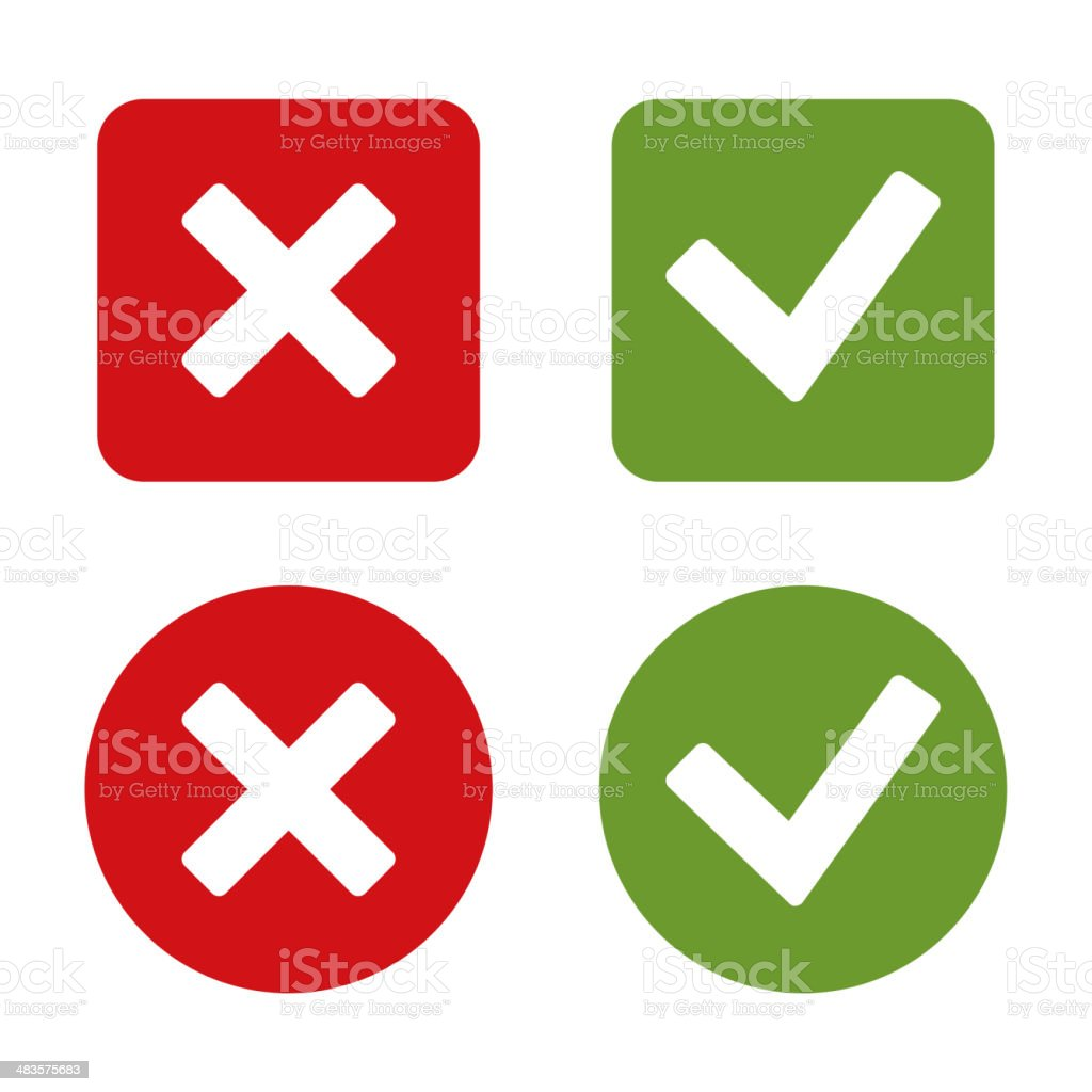 Check Mark Stickers and Buttons. Red Green. Vector. vector art illustration