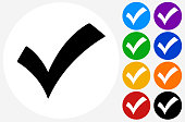 Check Mark.The icon is black and is placed on a round blue vector button. The button is flat white color and the background is light. The composition is simple and elegant. The vector icon is the most prominent part if this illustration. There are eight alternate button variations on the right side of the image. The alternate colors are orange, red, purple, yellow, black, green, blue and indigo.