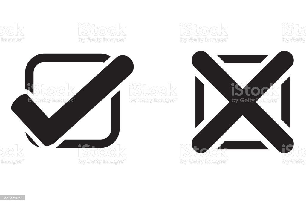 Check Mark Wrong Mark Black Icon Stock Vector Art More Images Of