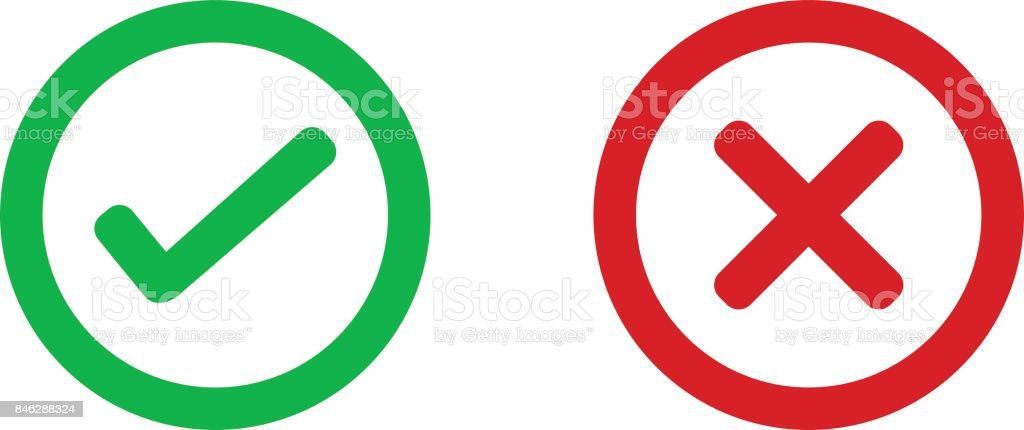 check mark wrong mark icon vector art illustration