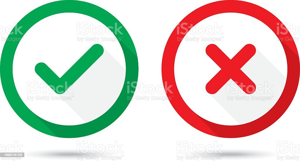 Check Mark, Wrong Mark Icons vector art illustration