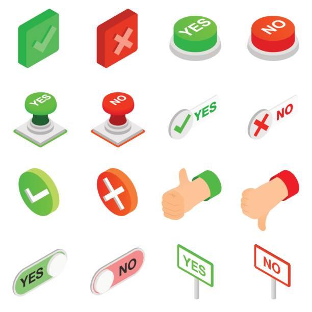 Setzen von Häkchen ja und keine Symbole – Vektorgrafik