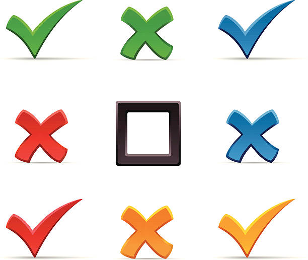 Check marks and crosses vector art illustration