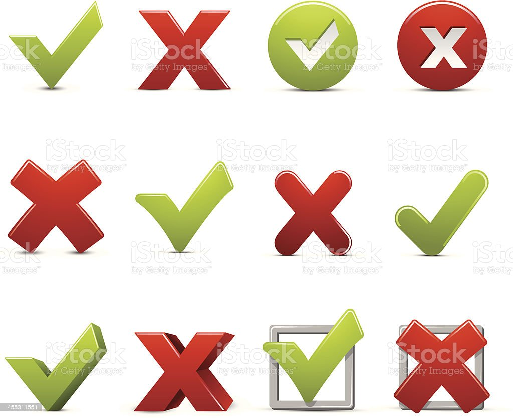 Check Marks and Xs royalty-free stock vector art