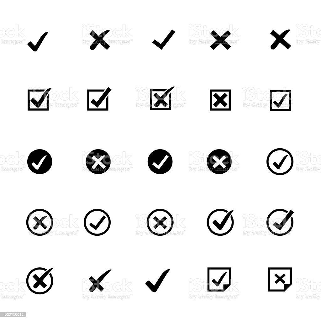 Check Marks Icons vector art illustration