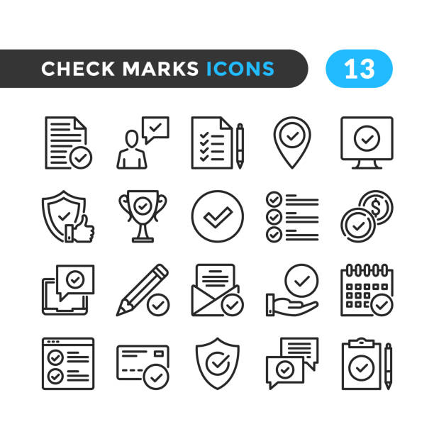 Check marks line icons. Outline symbols collection. Modern stroke, linear elements. Premium quality. Pixel perfect. Vector thin line icons set vector art illustration