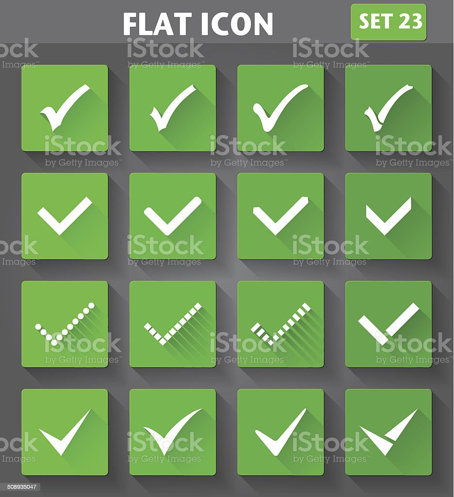 Vector application Check Marks or Ticks Icons set in flat style with...
