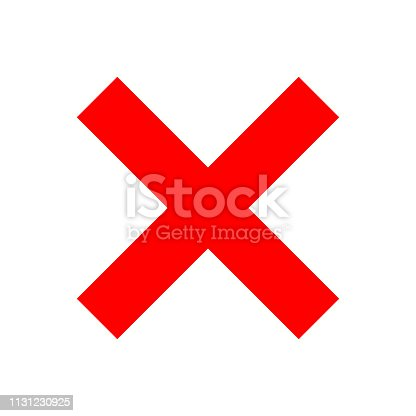 Check marks - red cross icon simple - vector illustration