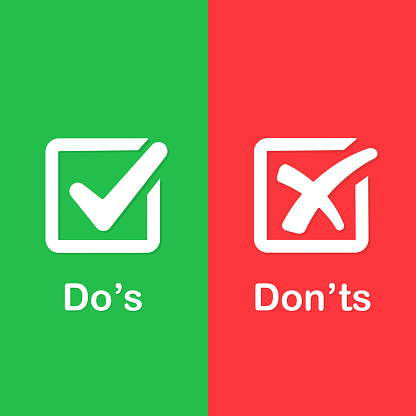 Check marks ui button with dos and donts.  Sign post indicating Do's vs Don'ts. Concept of poor or good test result or performance review.