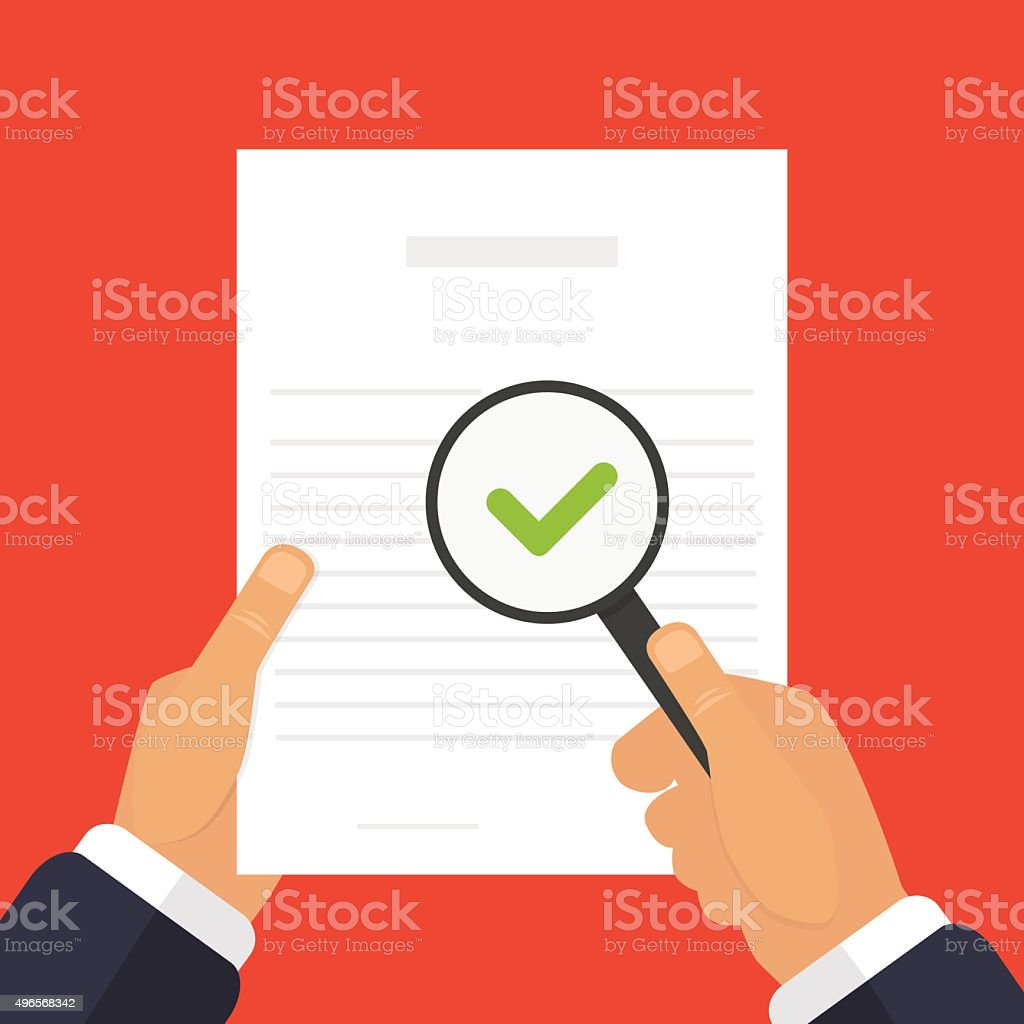 Check of documents illustration a magnifying glass in hand vector art illustration