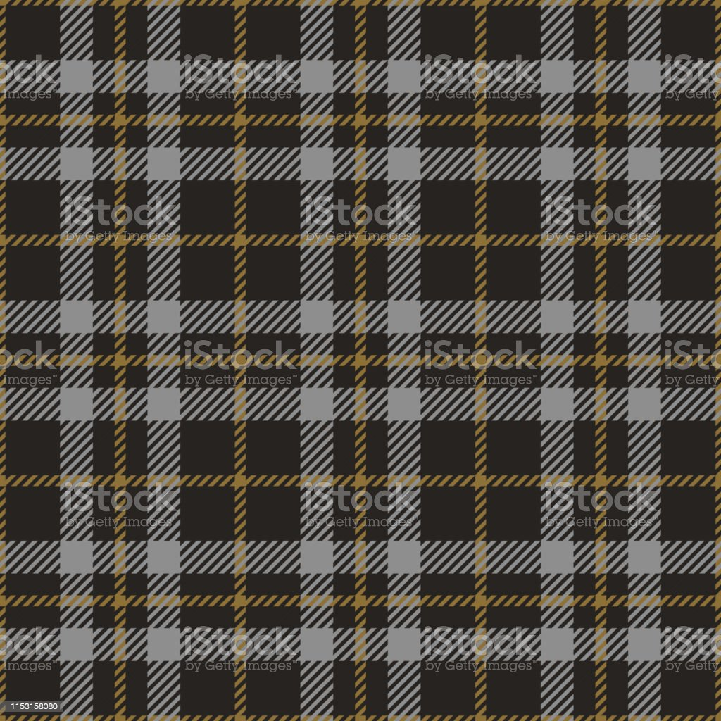 Check plaid pattern vector. Seamless dark tartan check plaid in grey...