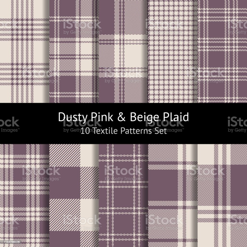 Check plaid patterns vector set in dusty pink and beige. Herringbone,...