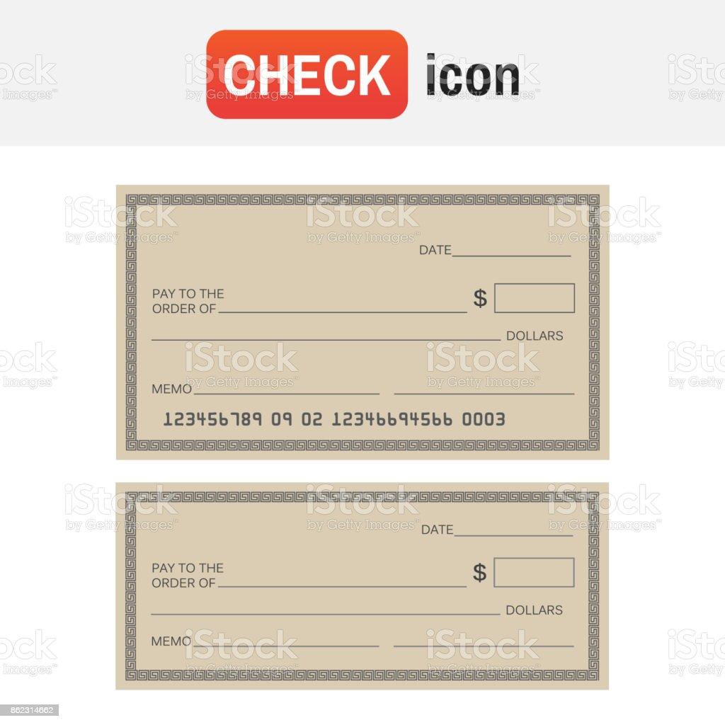 Überprüfen Sie Die Vorlage Bank Blankoscheck Symbol Vektor Stock ...