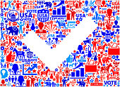 Check Vote and Elections USA Patriotic Icon Pattern. This 100% vector composition features red and blue vote and elections icon pattern. The icons vary in size and include such election iconography as voting, candidates, leadership, voting ballots, republican and democratic symbols and people participating in the voting process.