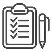 Checkboard and pen line icon. Checklist with pen vector illustration isolated on white. Note outline style design, designed for web and app. Eps 10