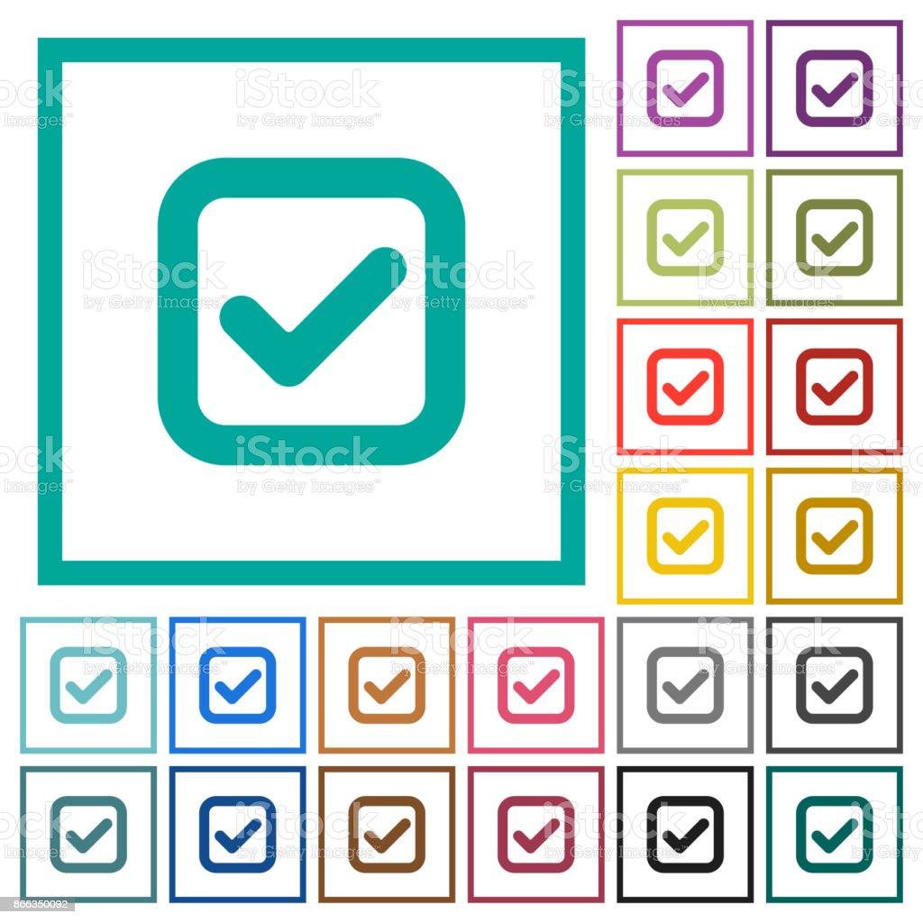 Checkbox flat color icons with quadrant frames vector art illustration