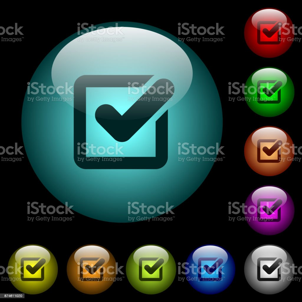 Checkbox icons in color illuminated glass buttons vector art illustration