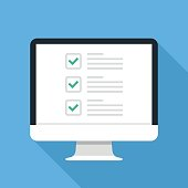 Checkboxes on computer screen. Checkboxes and green checkmarks. Survey, feedback, complete tasks, to-do list concepts. Modern concept for web banners, web sites, infographics. Creative flat design vector illustration