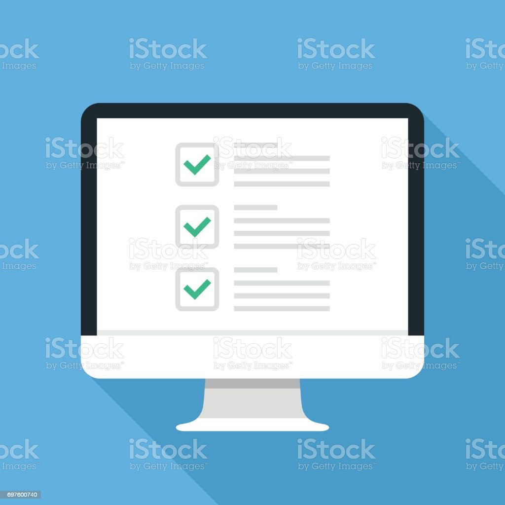 Checkboxes on computer screen. Checkboxes and green checkmarks. Survey, feedback, complete tasks, to-do list concepts. Modern concept for web banners, web sites, infographics. Creative flat design vector illustration vector art illustration