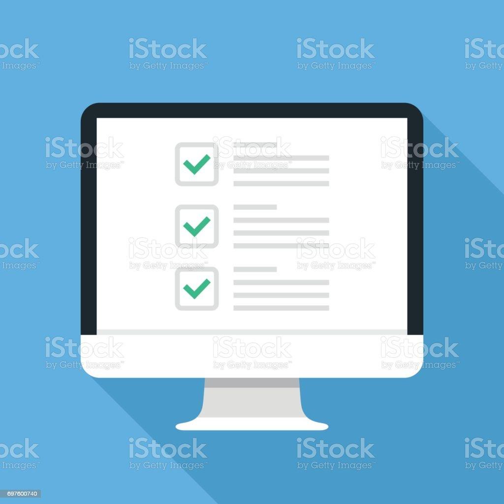 Checkboxen auf Computer-Bildschirm. Checkboxen und grüne Häkchen. Umfrage, Feedback, Aufgaben erledigen, to-do-Liste Konzepte. Modernes Konzept für Web-Banner, Webseiten, Infografiken. Kreative flaches Design-Vektor-illustration – Vektorgrafik