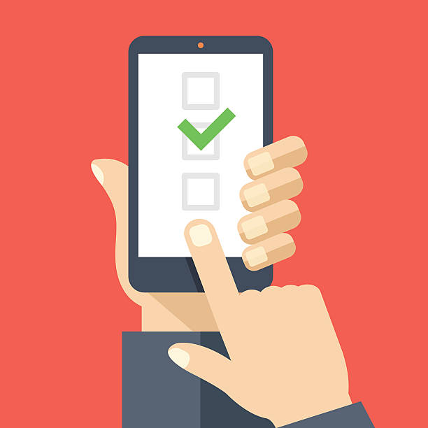 Checkboxes on smartphone screen. Checkboxes and checkmark. Flat vector illustration Checkboxes on smartphone screen. Hand hold smartphone, finger touch screen. Checkboxes and checkmark. Modern concept for web banners, web sites, infographics. Creative flat design vector illustration choosing stock illustrations