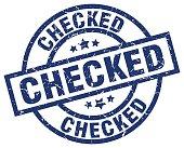 checked blue round grunge stamp