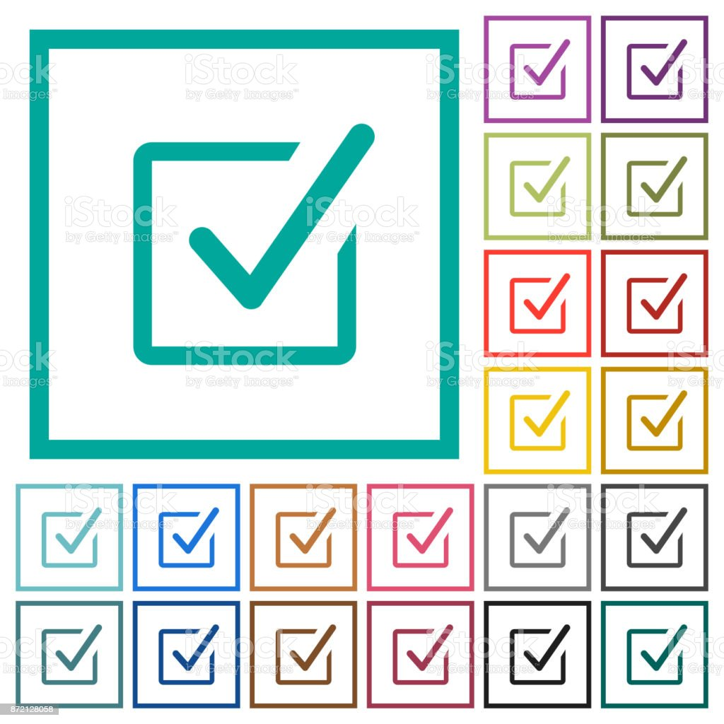 Checked box flat color icons with quadrant frames vector art illustration