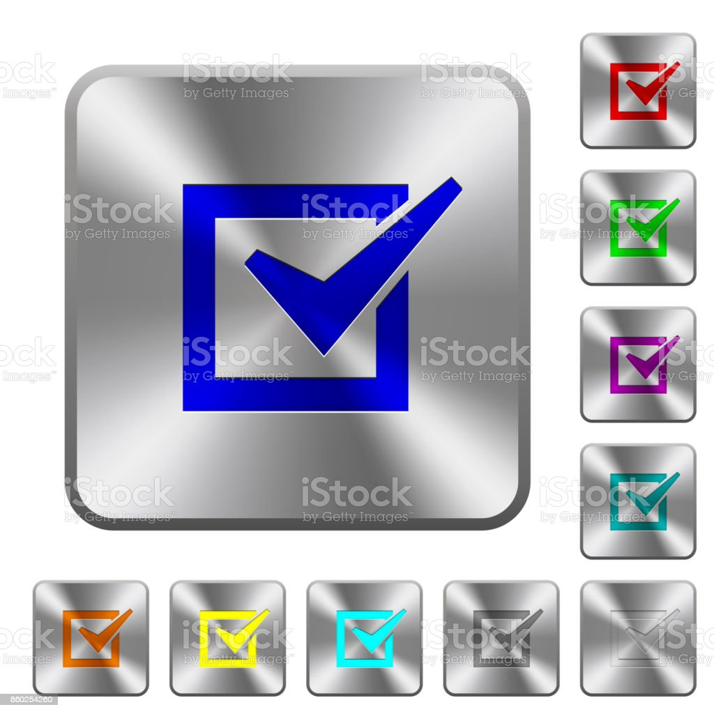 Checked box rounded square steel buttons vector art illustration