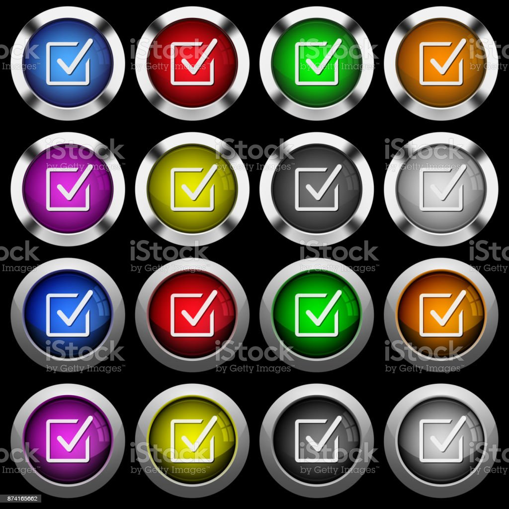 Checked box white icons in round glossy buttons on black background vector art illustration