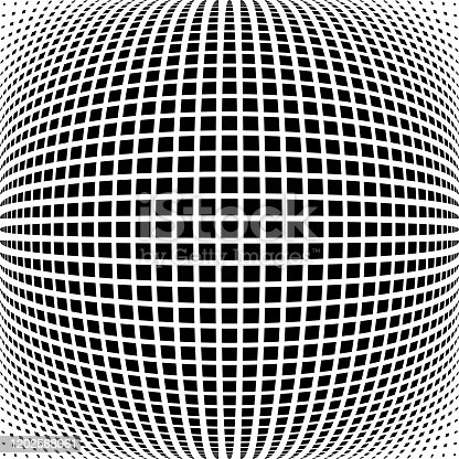 Checked pattern in spherical shape. Grid texture. Vector art.