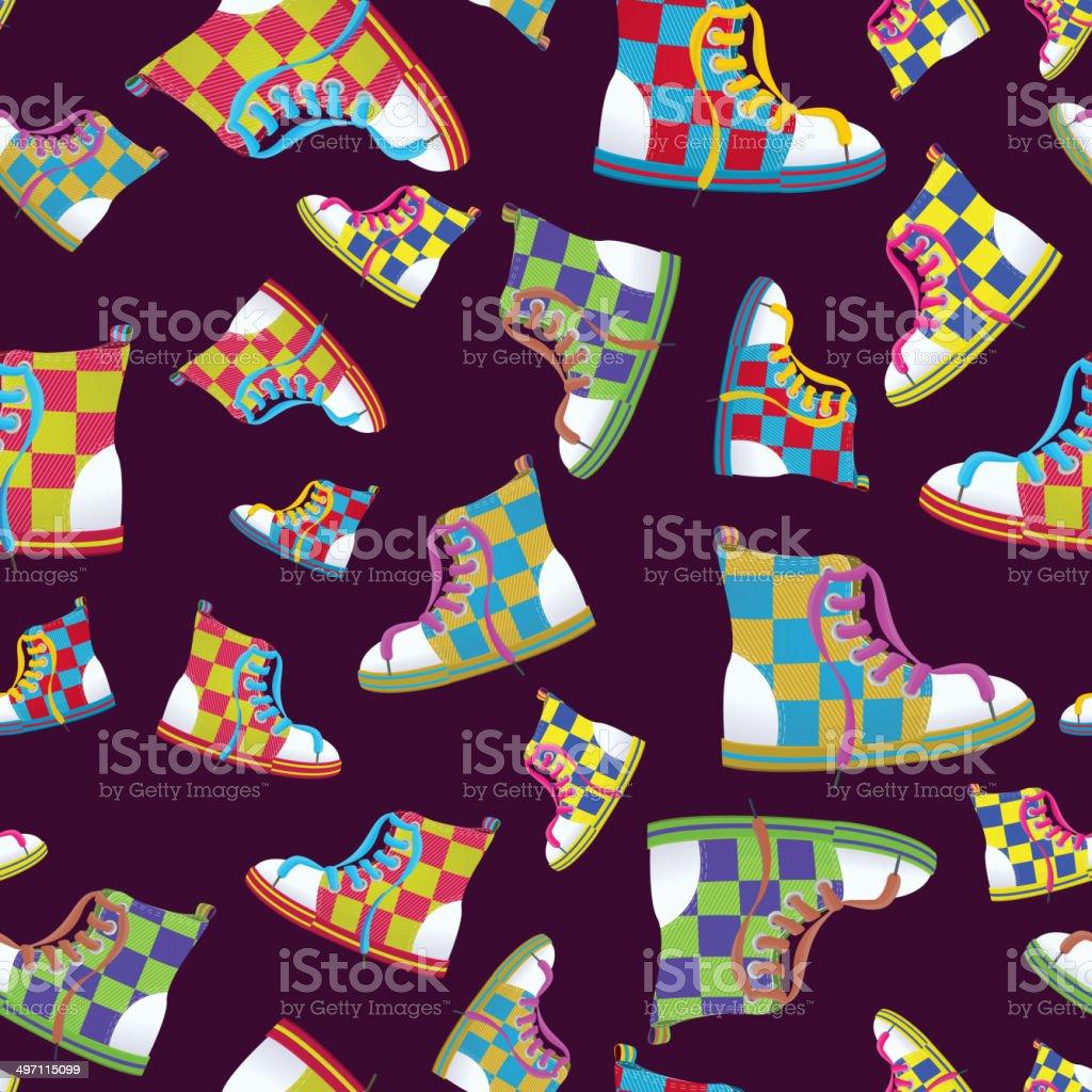 Checked sneaker seamless pattern vector art illustration