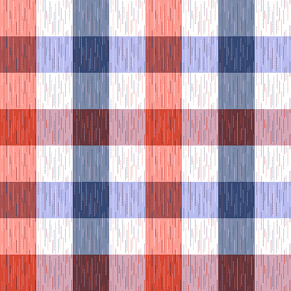 Checked, tartan, plaid or striped seamless pattern in blue, orange and white colors. Vector illustration.